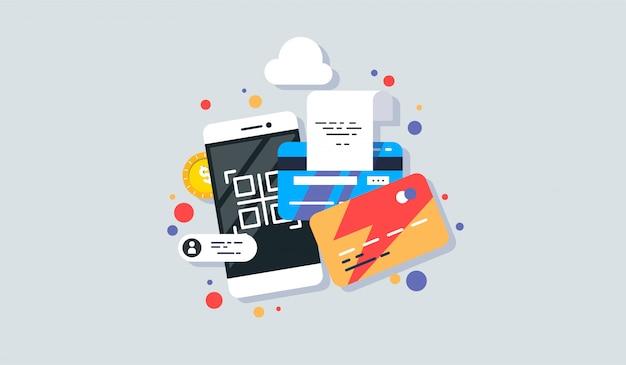 Mobiele telefoon betaling pictogram in vlakke stijl.