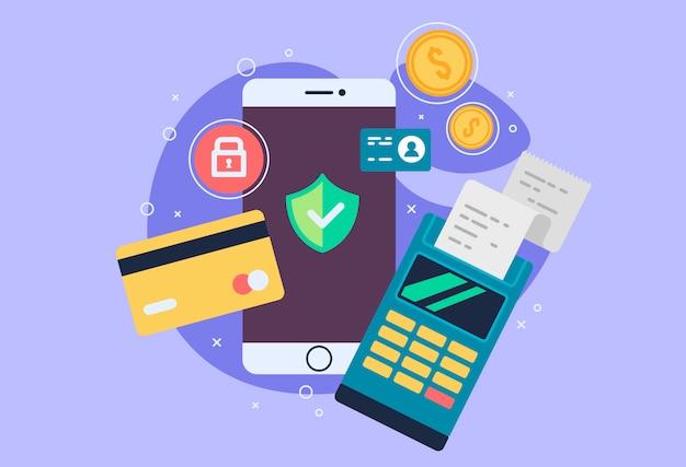 Mobiele telefoon betalingspictogram in vlakke stijl. de internetwinkel, online winkel, internet kopen en betalen. smartphone valuta ontwerpelementen.