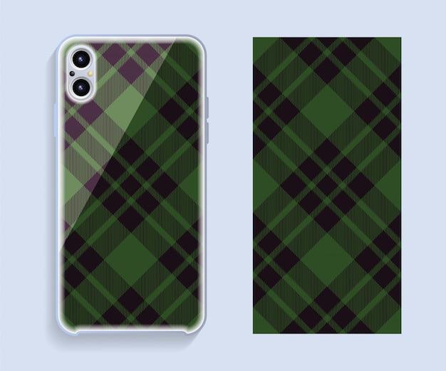 Mobiele telefoon dekking. sjabloon smartphone geval vector patroon.