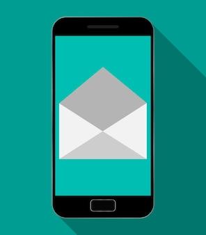 Mobiele telefoon die een nieuw bericht ontvangt.
