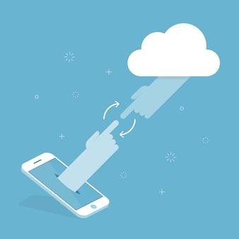 Mobiele telefoon en cloud-verbinding