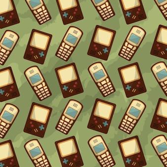Mobiele telefoon en game console retro vintage achtergrond