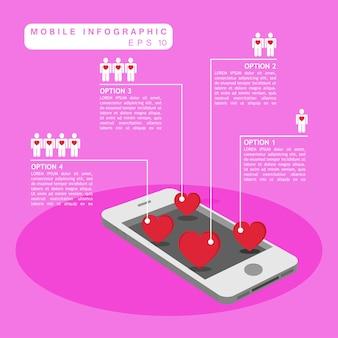 Mobiele telefoon en harten infographic met menselijk symbool
