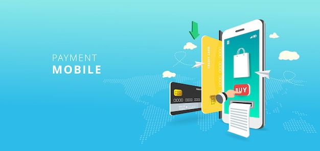 Mobiele telefoon en internetbankieren. online betalingstransactie via creditcard. betaling mobiel concept op de achtergrond van de wereldkaart. illustratie
