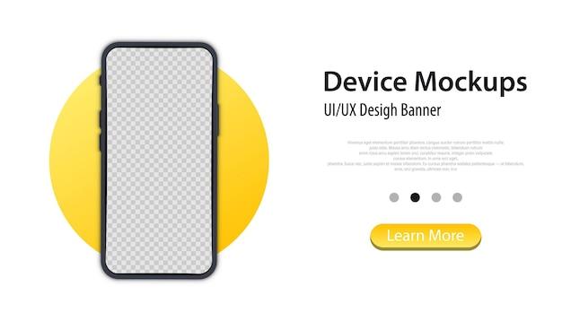 Mobiele telefoon frame met blanco display. realistische smartphone mockup-banner. vector mobiele telefoon apparaat concept. sjabloon voor infographics voor presentatie ui-ontwerpinterface