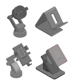 Mobiele telefoon houder pictogrammen instellen, isometrische stijl