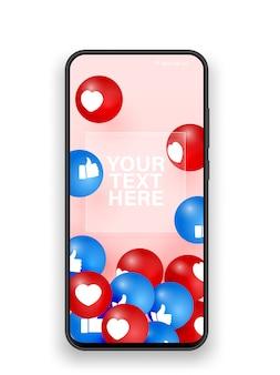 Mobiele telefoon houdt en hart realistische illustratie. vooraanzicht van de zwarte smartphone. social media app-concept. smm, bloggen. telefoon met soortgelijke en harten illustratie