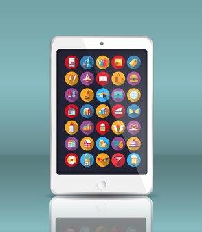 Mobiele telefoon in een realistische stijl met reflectie en veel pictogrammen.