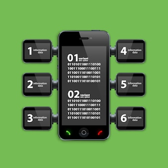 Mobiele telefoon infographics kunstobject. vector illustratie