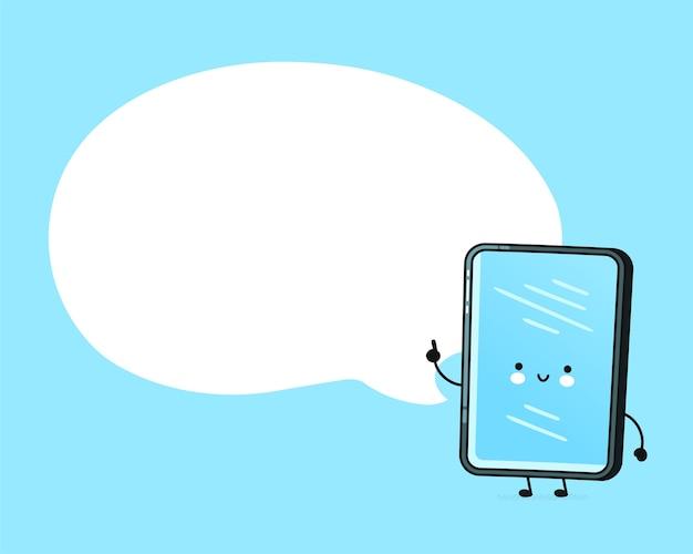 Mobiele telefoon karakter met tekstballon