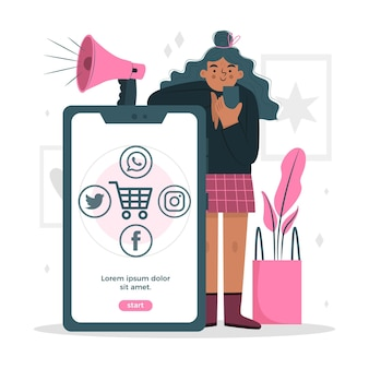Mobiele telefoon marketing vrouw met megafoon