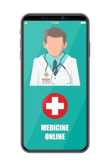 Mobiele telefoon met app voor internetapotheken. pillen en flessen, medicijnen online. medische hulp, hulp, ondersteuning online. gezondheidszorg applicatie op smartphone. vectorillustratie in vlakke stijl