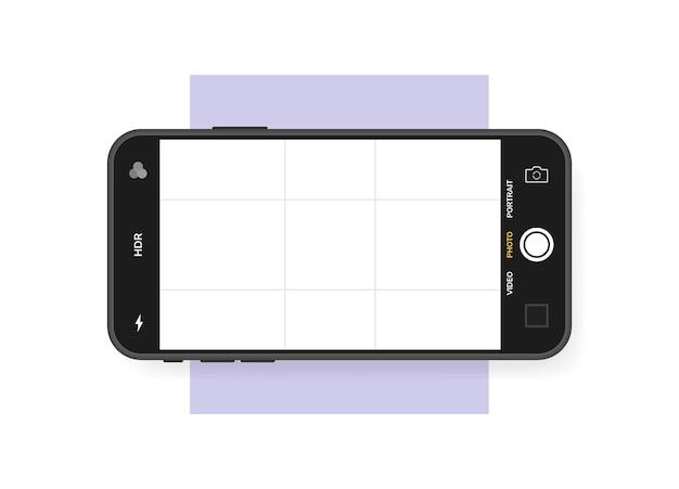 Mobiele telefoon met camera-interface. mobiele app-applicatie. foto scherm ontwerpsjabloon.
