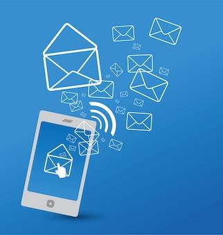 Mobiele telefoon met e-mailpictogram