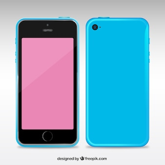 Mobiele telefoon met een blauwe koffer