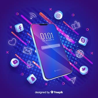Mobiele telefoon met een donker thema, omringd door apps