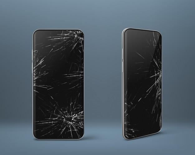 Mobiele telefoon met gebroken scherm ingesteld, gadgetapparaat