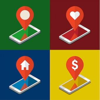 Mobiele telefoon met gps-app op het scherm. op zoek naar een plek. vlakke afbeelding