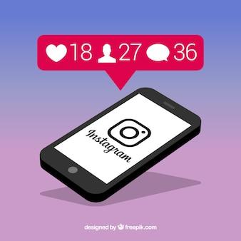 Mobiele telefoon met instagram berichtsjabloon en meldingen
