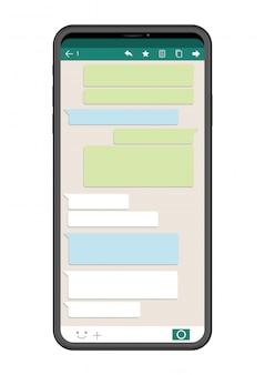 Mobiele telefoon met sns interface die op witte achtergrond, vectorillustratie wordt geïsoleerd.
