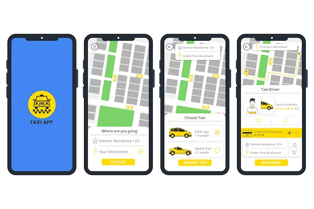 Mobiele telefoon met taxi-app