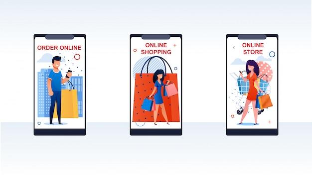 Mobiele telefoon met verschillende mensen die dingen kopen.