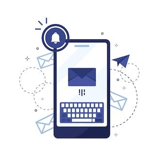 Mobiele telefoon met verzonden bericht of brief per e-mail in plat ontwerp