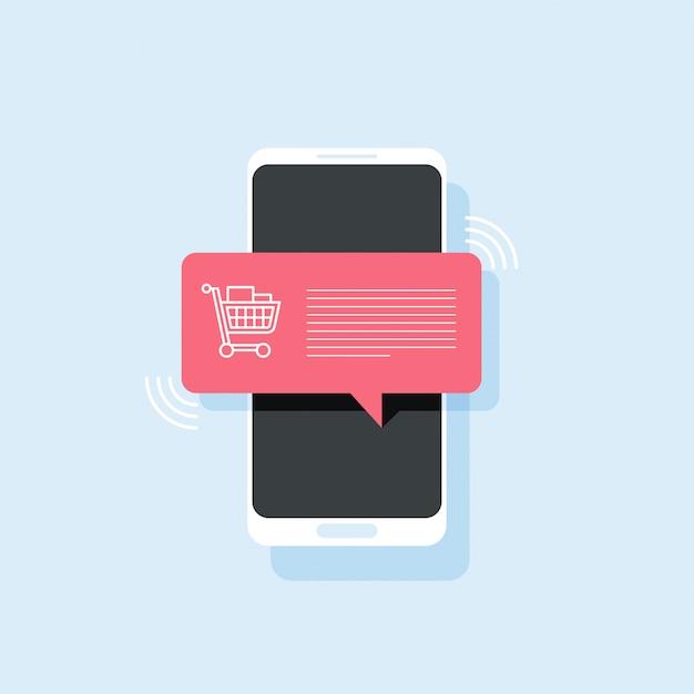 Mobiele telefoon met winkelwagentje vol pictogram