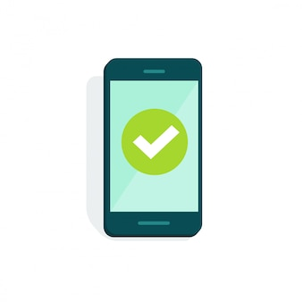 Mobiele telefoon of mobiel met vinkje op weergave vector illustratie platte cartoon