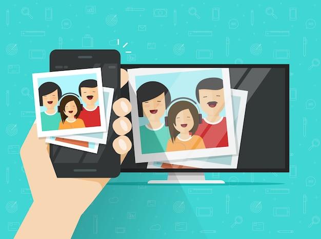 Mobiele telefoon of mobiele telefoon aangesloten op tv met foto's platte cartoon