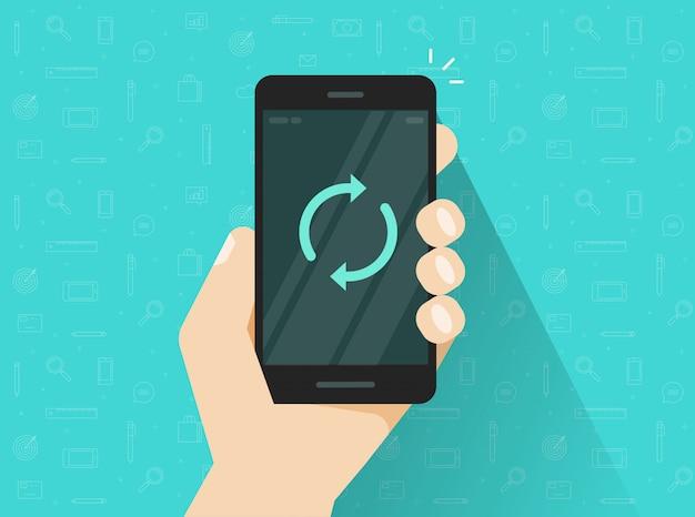 Mobiele telefoon of mobiele telefoon wordt bijgewerkt of gesynchroniseerd