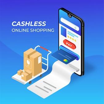 Mobiele telefoon online winkelen illustratie zonder contant geld
