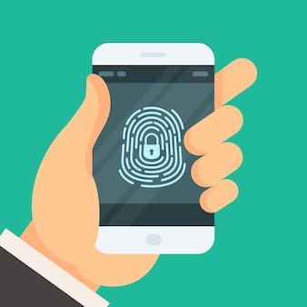 Mobiele telefoon ontgrendeld met vingerafdrukknop - autorisatie van smartphonewachtwoord