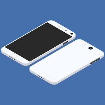 Mobiele telefoon. plat isometrisch. mobiel apparaat. moderne communicatietechnologieën. communicatie en beheer. witte smartphone. touchscreen-weergave. vector illustratie.