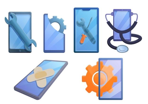 Mobiele telefoon reparatie iconen set, cartoon stijl