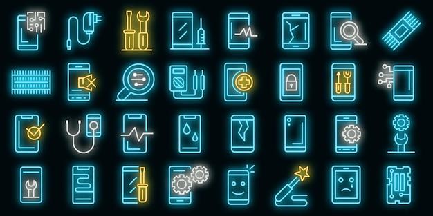 Mobiele telefoon reparatie pictogrammen instellen. overzicht set van mobiele telefoon reparatie vector iconen neon kleur op zwart