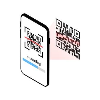 Mobiele telefoon scant qr-code. qr-scanner.