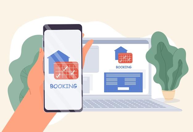 Mobiele telefoonboekingstoepassing online computerservicetechnologie voor het huisvesten van appartementen, transporthuur. hotel hostel, auto, vliegticket bestellen, gedetailleerd onderzoek. menselijke hand houdt smartphone