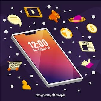 Mobiele telefoonillustratie met elementen