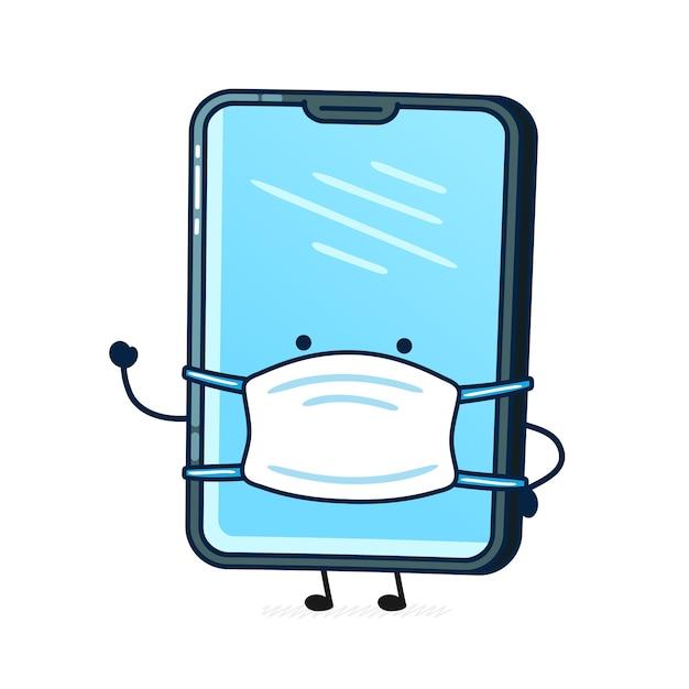 Mobiele telefoonkarakter met medisch masker