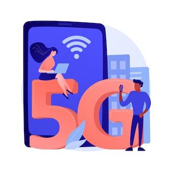 Mobiele telefoons 5g netwerk abstracte concept illustratie