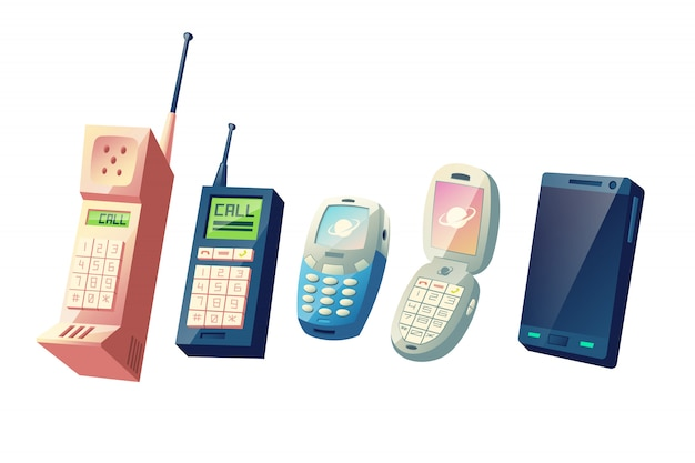 Mobiele telefoons evolutie cartoon vector concept. cellphones-generaties van vintage-modellen met fysieke numerieke toetsenblokken en intrekbare antennes tot moderne slimme apparaten met touchscreen-illustratie