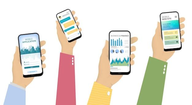 Mobiele telefoons in de hand met verschillende app-ui-schermen