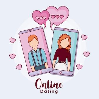 Mobiele telefoons met man en vrouw met harten rond