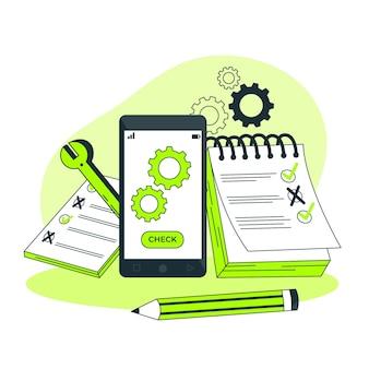 Mobiele testen concept illustratie