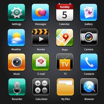 Mobiele toepassings pictogrammen
