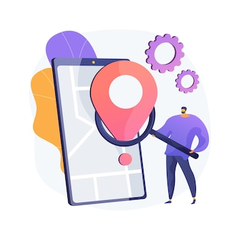 Mobiele tracking zachte abstracte concept illustratie
