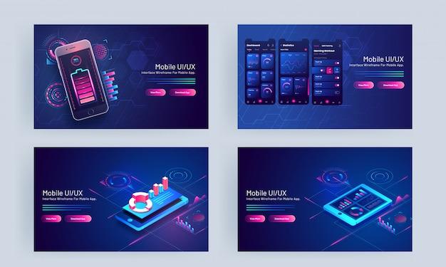 Mobiele ui / ux-concept gebaseerde bestemmingspagina ingesteld met smartphone en infographic elementen op blauw