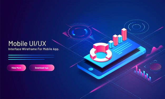 Mobiele ui / ux gebaseerde isometrische bestemmingspagina met financiële info grafische app in slimme telefoon op blauwe digitaal.