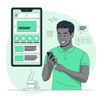 Mobiele ux concept illustratie